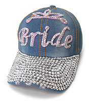 RHINESTONE WORN DENIM BASEBALL CAP - BRIDE