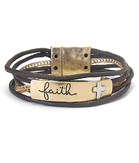 INSPIRATION MESSAGE WAX CORD CHAIN MAGNETIC BRACELET - FAITH