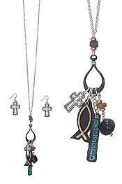 RELIGIOUS THEME MULTI CHARM PENDANT NECKLACE SET - BLESSED