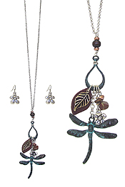 DRAGONFLY CHARM PENDANT NECKLACE SET