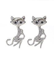 WHITEGOLD PLATING CRYSTAL CAT EARRING