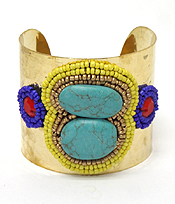 HANDMADE TURQUOISE AND MULTI SEEDBEADS CUFF BRACELET - BRASS