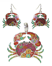 GRAFFITI ART STYLE CRAB PENDANT AND EARRING SET