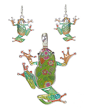 GRAFFITI ART STYLE FROG PENDANT AND EARRING SET