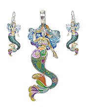 GRAFFITI ART STYLE MERMAID PENDANT AND EARRING SET