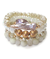 NATURAL PEARL AND MULTI FACET STONE MIX 4 STRETCH BRACELET SET