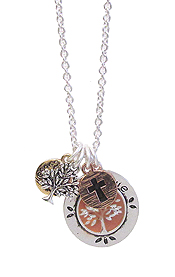 RELIGIOUS INSPIRATION MULTI CHARM PENDANT NECKLACE - TREE OF LIFE
