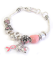 EURO STYLE MULTI BEAD AND CHARM BRACELET - PINK RIBBON BREAST CANCER AWARENESS