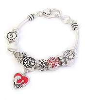 EURO STYLE MULTI BEAD AND CHARM BRACELET - LOVE YOU MOM