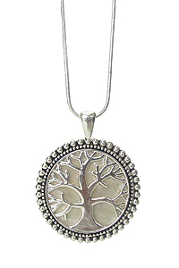 MOTHER OF PEARL TREE OF LIFE PENDANT NECKLACE