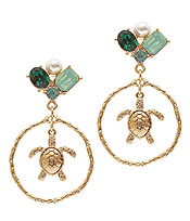 MULTI STONE MIX TURTLE EARRING