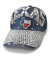 RHINESTONE WORN DENIM BASEBALL CAP - TEXAS
