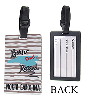 LARGE RUBBER LUGGAGE TAG - BORN AND RAISED NORTH CAROLINA