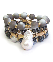 BAROQUE PEARL AND MULTI SEMI PRECIOUS STONE MIX 4 STRETCH BRACELET SET