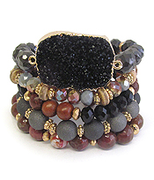 LARGE DRUZY AND MULTI SEMI PRECIOUS STONE MIX 5 STRETCH BRACELET SET