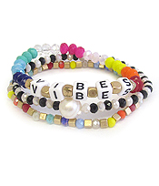 WORD BLOCK 3 STACKABLE STRETCH BRACELET SET - VIBES