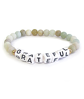 WORD BLOCK GEM STONE STRETCH BRACELET - GRATEFUL