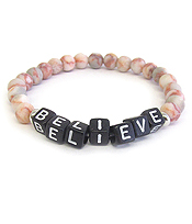WORD BLOCK GEM STONE STRETCH BRACELET - BELIEVE