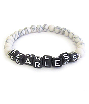 WORD BLOCK GEM STONE STRETCH BRACELET - FEARLESS