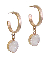 DRUZY DROP HOOP EARRING