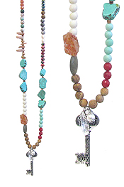 KEY PENDANT AND MULTI SEMI PRECIOUS STONE MIX LONG NECKLACE - LIFE IS A JOURNEY AND YOU HOLD THE KEY