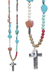 CROSS PENDANT AND MULTI SEMI PRECIOUS STONE MIX LONG NECKLACE - BLESSED BEYOND BELIEF
