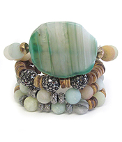 SEMI PRECIOUS STONE AND MULTI WOOD BEAD MIX 4 STRETCH BRACELET SET