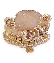 DRUZY AND MULTI FACET STONE MIX 5 STRETCH BRACELET SET