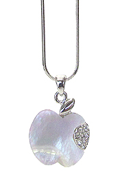 WHITEGOLD PLATING CRYSTAL AND MOP APPLE PENDANT NECKLACE