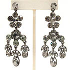 CRYSTAL FLOWER AND LEAF DROP EARRING