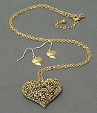 METAL LEAF FILIGREE PUFFY HEART NECKLACE EARRING SET