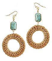 SEMI PRECIOUS STONE AND RATTAN DISC EARRING