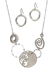 METAL FILIGREE AND SWIRL MULTI DISC LINK NECKLACE SET