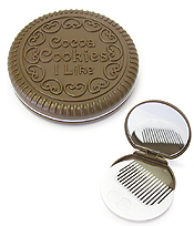 POCKET MIRROR WITH COMB  - CHOCO COOKIE