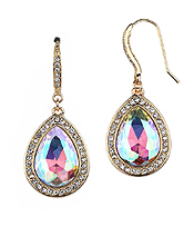 FACET TEARDROP GLASS AND CRYSTAL DECO DROP EARRING