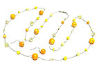 MABLE AND ACRYLIC BEADS LONG NECKLACE AND EARRING SET
