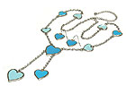 ENAMEL HEART Y- NECK NECKLACE AND EARRING SET