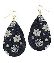 FLOWER PATTERN DENIM TEARDROP EARRING