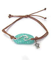 SEALIFE THEME OPAL PULL TIE BRACELET - WAVE AND TURTLE