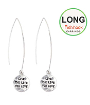 HANDMADE MESSAGE METAL DISK LONG FISH HOOK EARRING