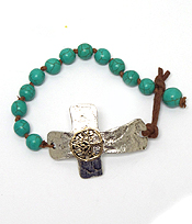 TREE OF LIFE CENTER HANDMADE HAMMERED CROSS AND TURQUOISE BAND BRACELET