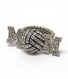 VOLLEYBALL MOM CRYSTAL STRETCH RING