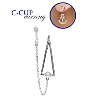TRIANGLE CHAIN LINK C CUP EARRING