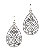 EDGE CRYSTAL METAL FILIGREE TEARDROP EARRING
