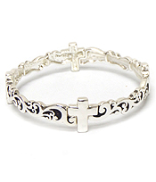 CROSS WITH METAL FILIGREE DESIGN BRACELET '