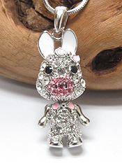 WHITEGOLD PLATING CRYSTAL PIG PENDANT NECKLACE