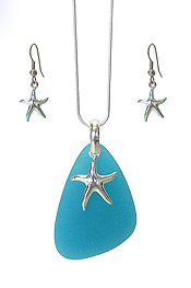 SEALIFE THEME SEA GLASS PENDANT NECKLACE SET - STARFISH