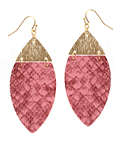 SNAKE SKIN TEXTURED METAL AND LEATHERETTE MARQUISE EARRING
