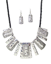 DESIGNER TEXTURED MULTI BAR DROP NECKLACE SET