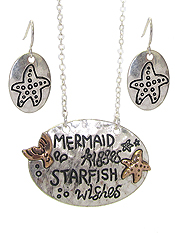 SEALIFE THEME MESSAGE PENDANT NECKLACE SET - MERMAID KISSES STARFISH WISHES